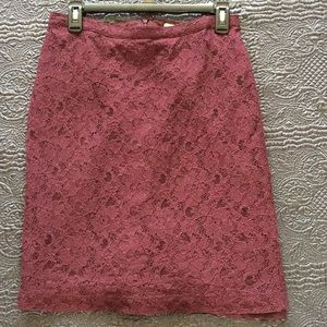 Banana Republic Burgundy Lace Skirt Women's Sz 6